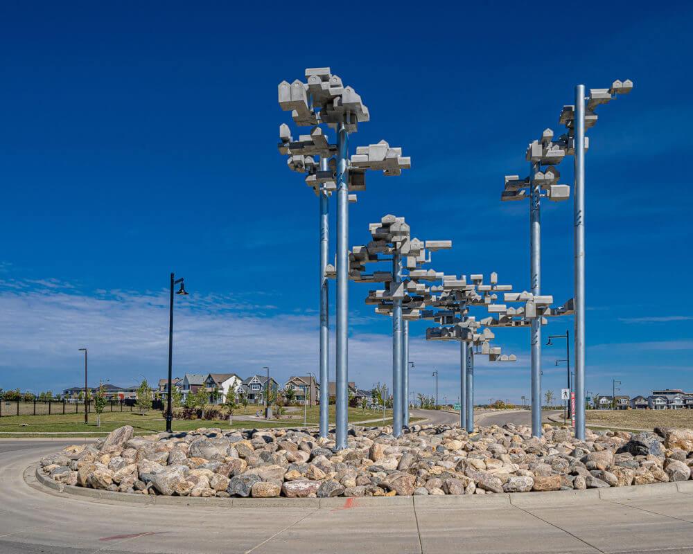 Art installation that resembles lamp posts Brighton