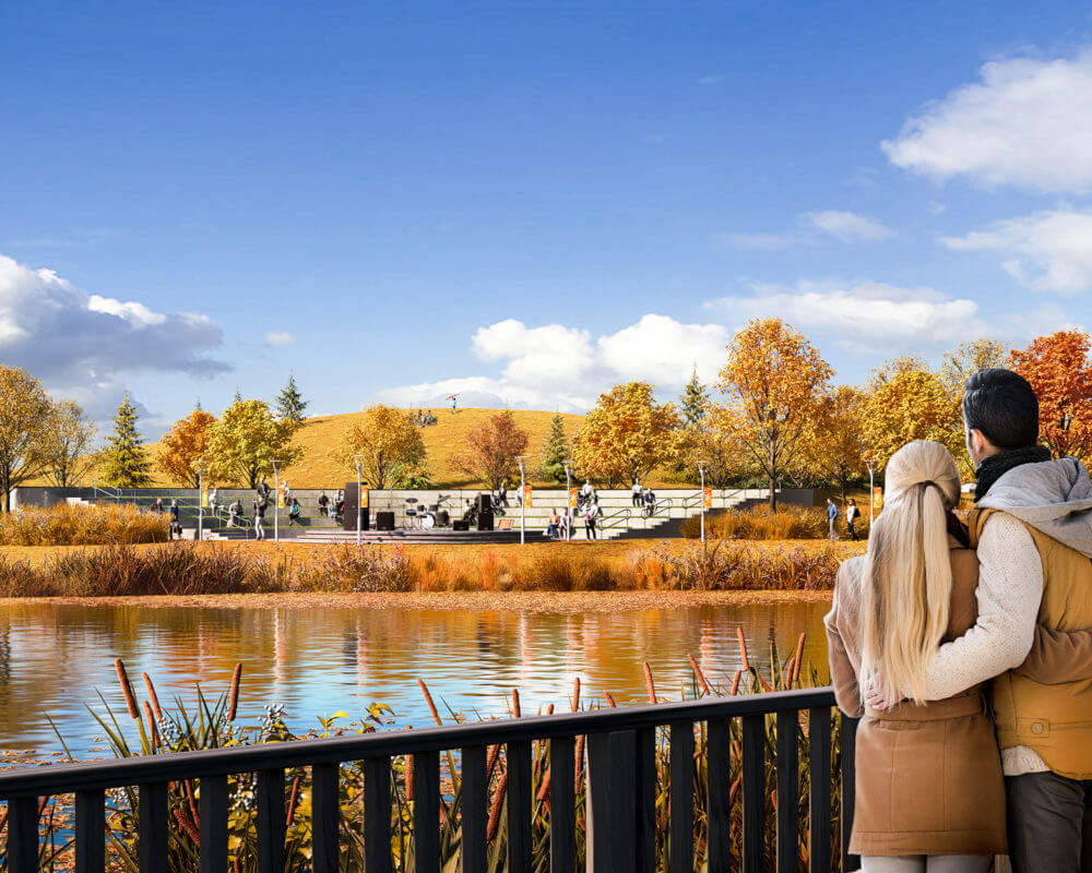 Rendering of couple looking at a pond in Brighton