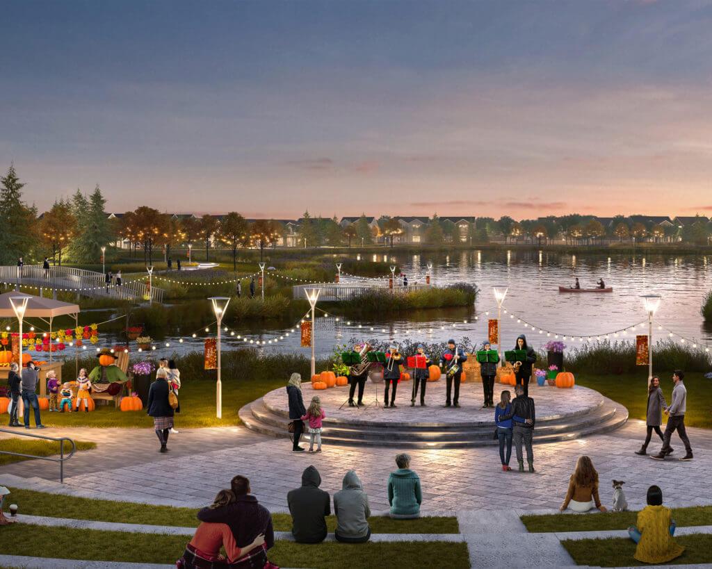 Dusk rendering of ponds at Brighton