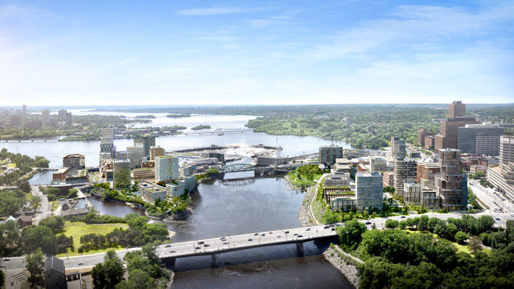 Aerial view of Chaudiere Falls