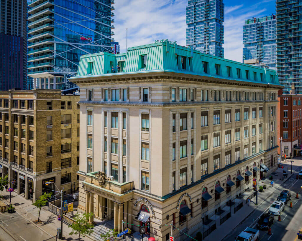 Aerial of current 212 King West historical building