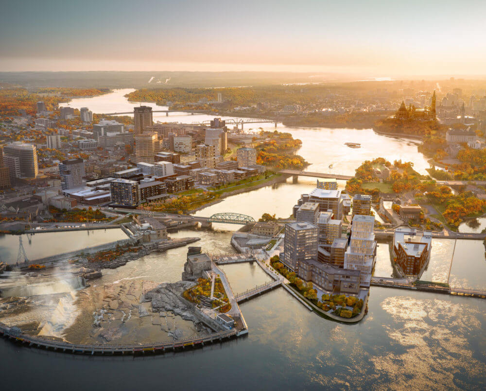 Aerial rendering of entire Zibi Community includes river and bridge between Ottawa and Gatineau.