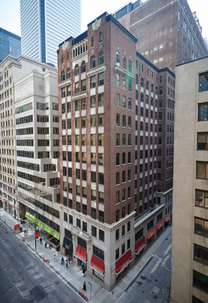 Drone image of Dream Office's 350 Bay Street building.
