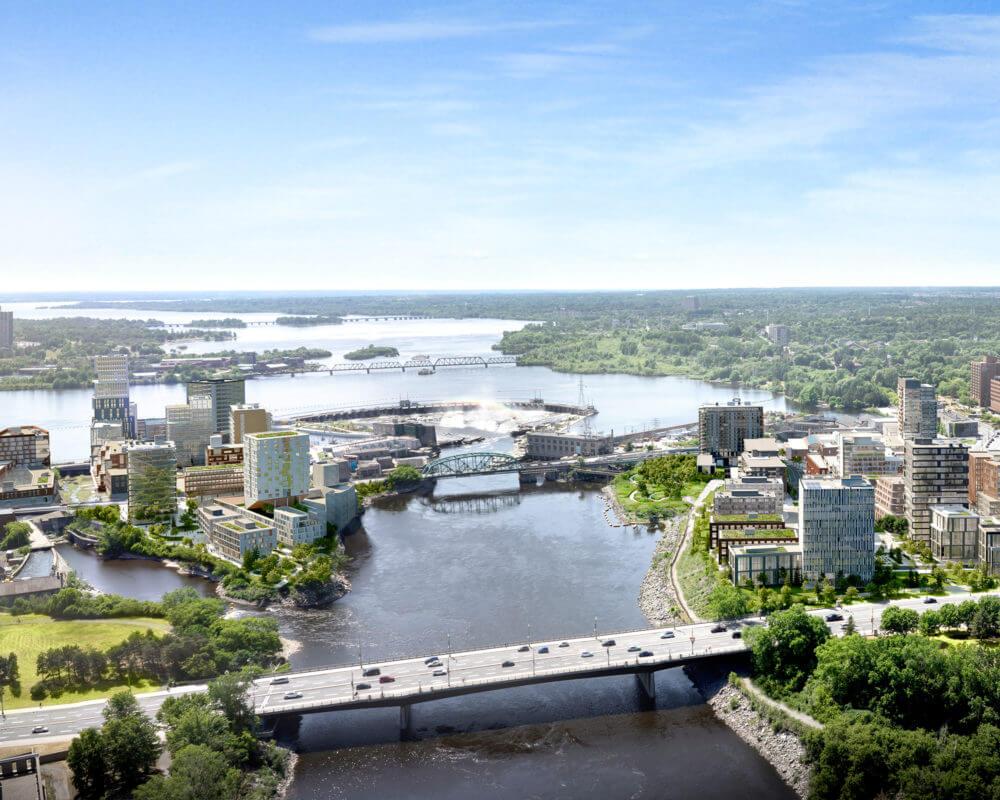 Aerial photo of Zibi Community includes river and bridge between Ottawa and Gatineau.