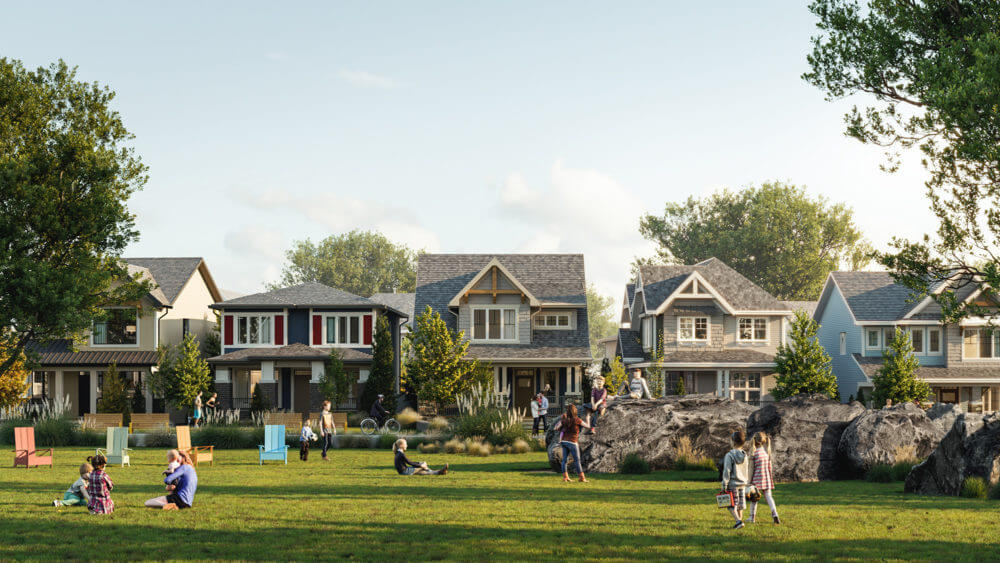 A park in Alpine Park, a community in Calgary, Alberta, children playing with a row of houses in the background.