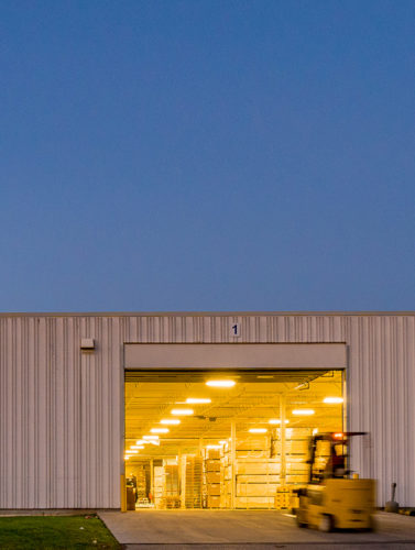 An open garage door in a Dream industrial building