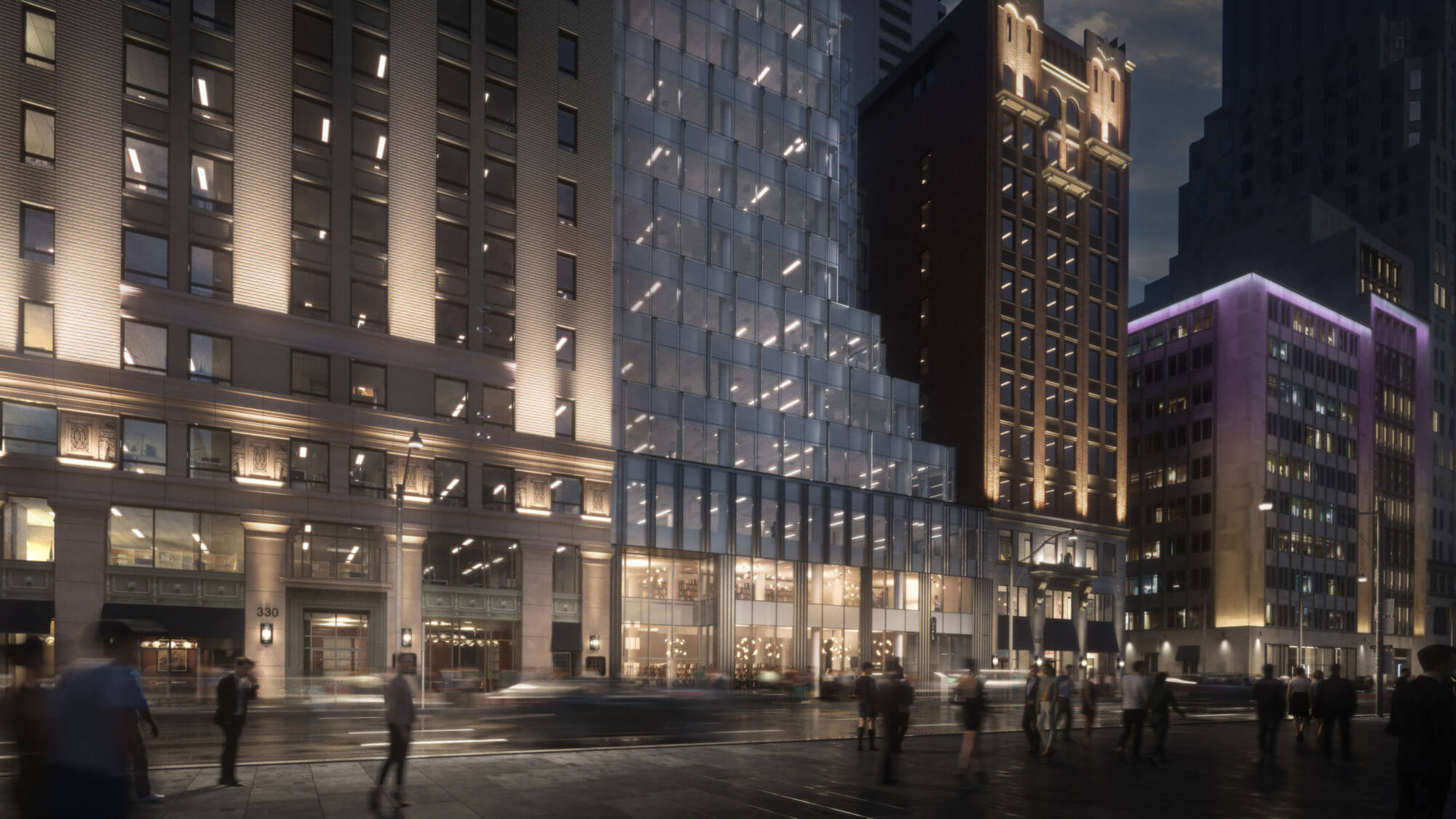 Moody street level rendering of Bay street historical buildings with exterior lighting and people walking past.