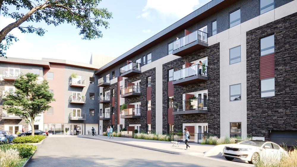 Morning rendering of the Wren apartments Brighton Village Rentals