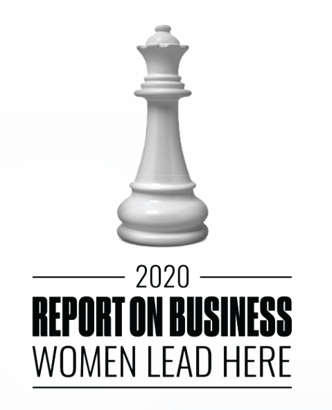 Globe and Mail's Report on Business Women Lead Here program logo of chess piece.