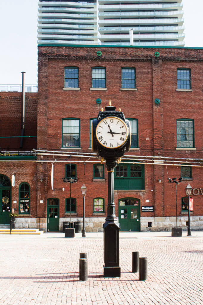 Outdoor clock outside 9 Trinity St. in Toronto's distillery district