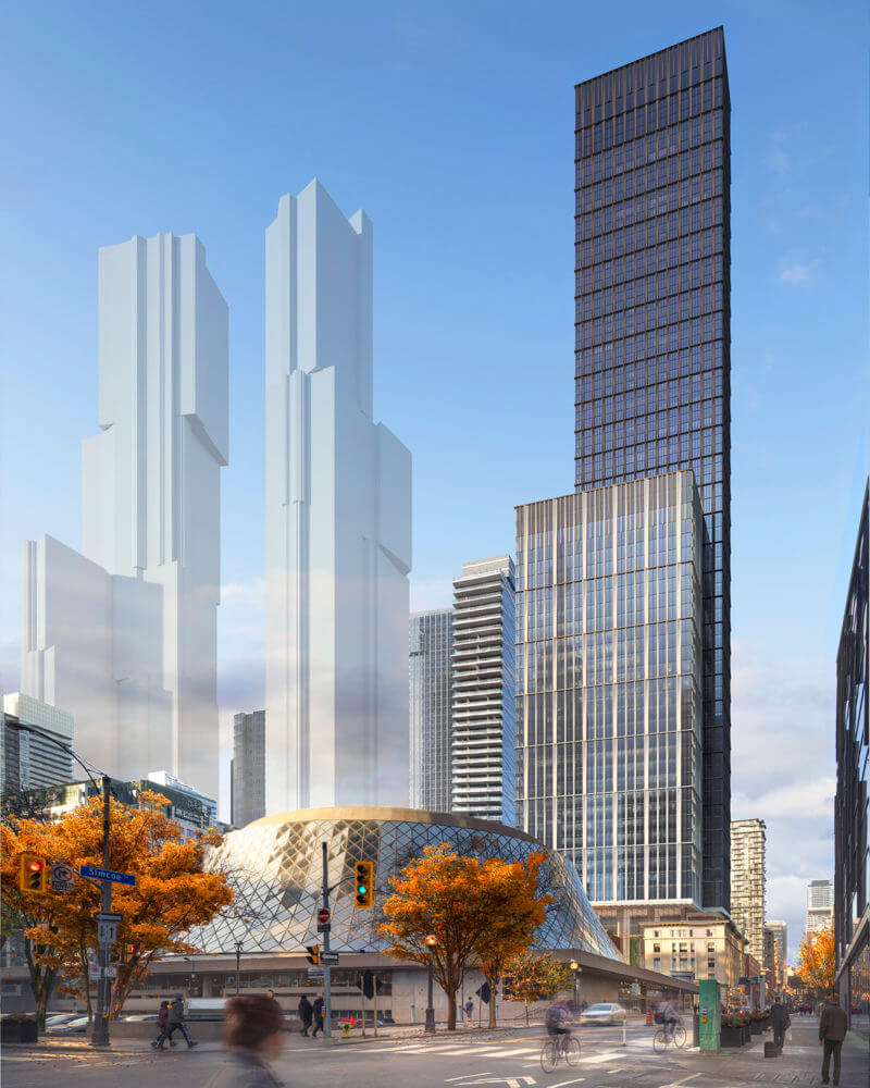 Rendering of 212 King, a large glass tower with a smaller glass tower in front, behind Roy Thompson Hall on King Street in Toronto.