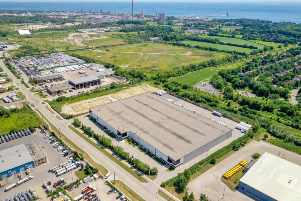 Aerial image of Dream Industrial Warehouse Building in Oakville Ontario