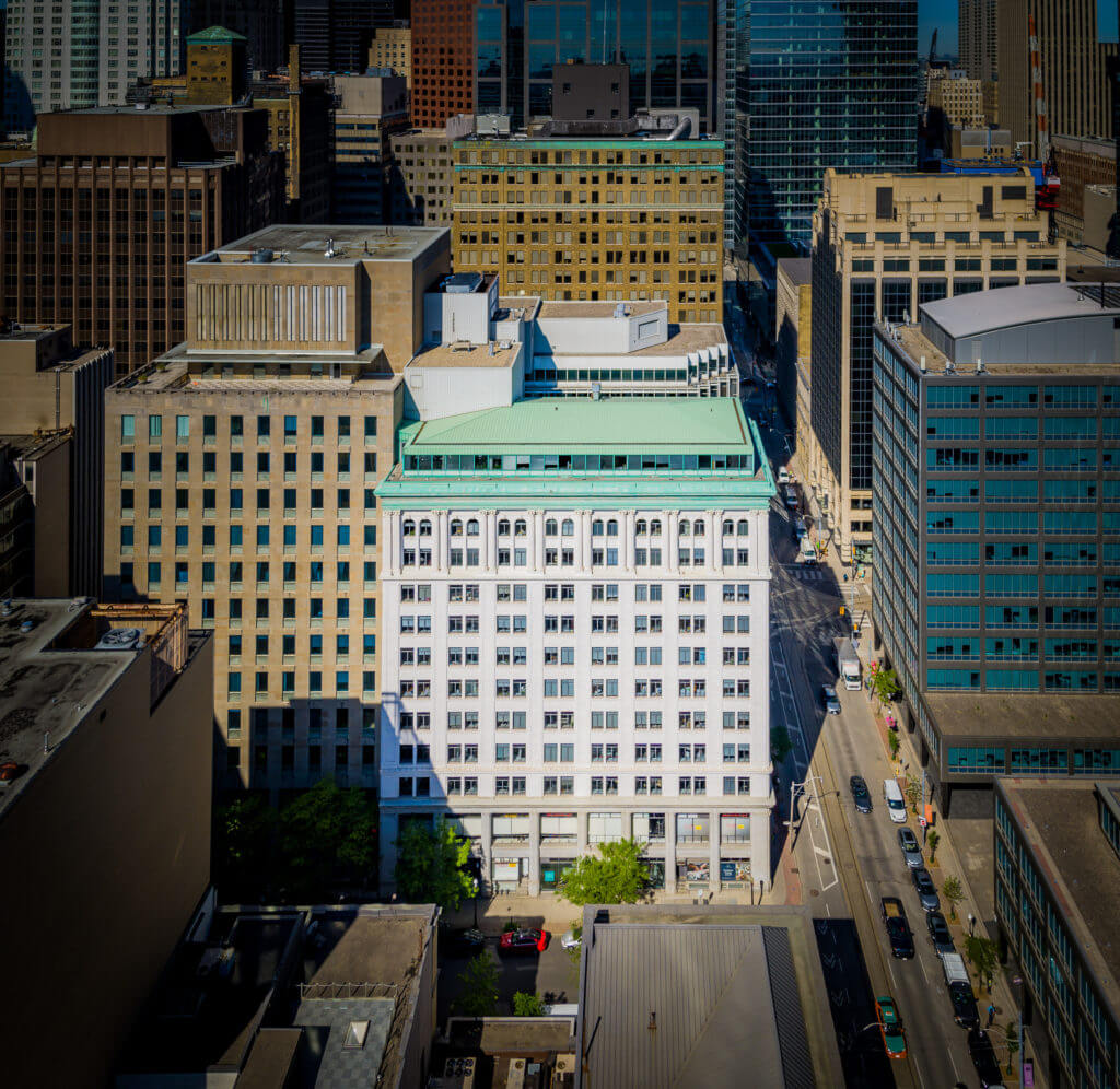 Aerial shot of the city core featuring an array of Dream Office REIT's assets highlighting 36 Toronto Street beside 30 Adelaide Street.