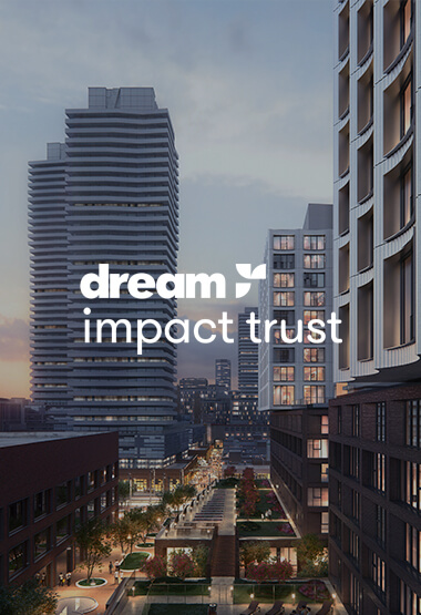 pink sunset evening rendering of West Don Lands in Toronto, ON with Dream Impact Trust logo overlaid in white.