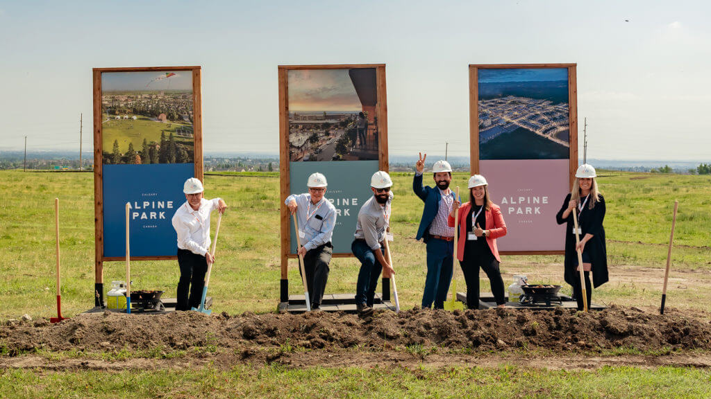 Stitched photograph of Alpine Park groundbreaking allowed team to celebrate while maintaining social distance