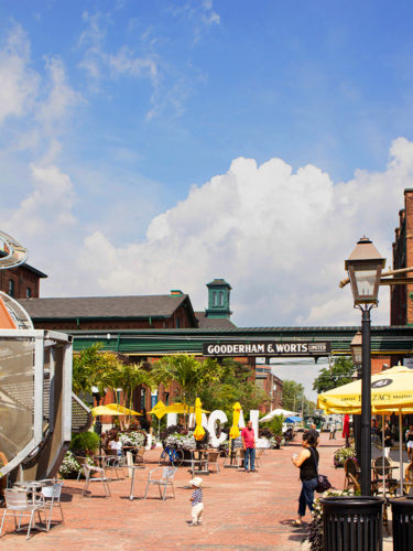 The main street in the Distillery district focused on retail